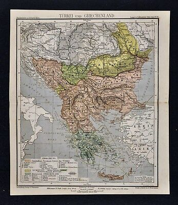 1875 Lange Map  Turkey in Europe & Greece Bulgaria Romania Bosnia Serbia Balkans