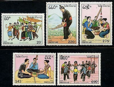 LAOS N°1032/1036** Coutumes & traditions, musique, 1992 Music Sc#1044-1048 MNH