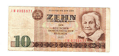DDR Geld Banknote Geldschein 10 Mark 1971 Ro.359c Computersatz IN [1]