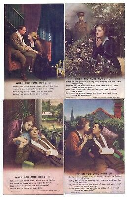 Bamforth Set of 4 Song Cards,Series 4874 When You Come Home  (BC)