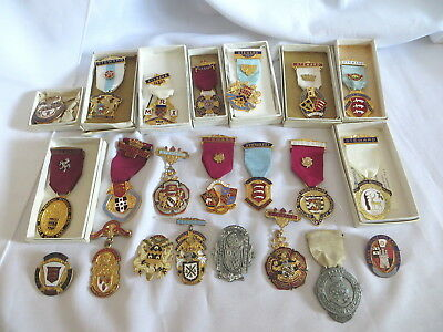 22 Masonic Stewards Breast Jewels - All Different - 9 Boxes (40)