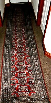 Very Long Persian Style Hall Carpet Runner Red Ground 370cm x 74cm No Damage
