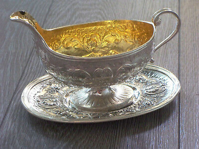 Heavy Antique French Silver Sauce Boat And Stand