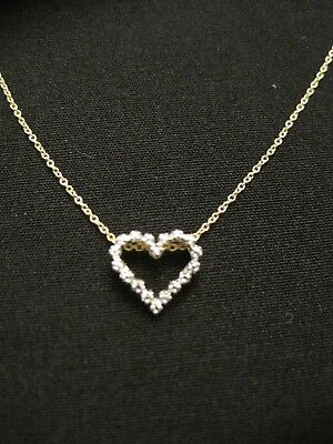 """925 Gold over Sterling Silver Diamond Heart Pendant Necklace 17"""" ~ 2.47 Grams"""