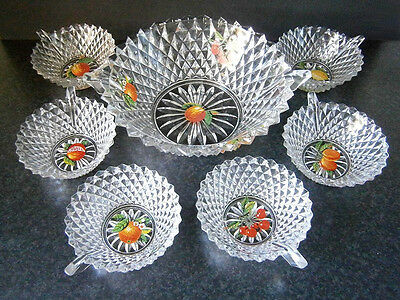 Vintage Depression Glass 7 Pce Hobnail Diamond Fruit Salad / Punch / Sweets Set