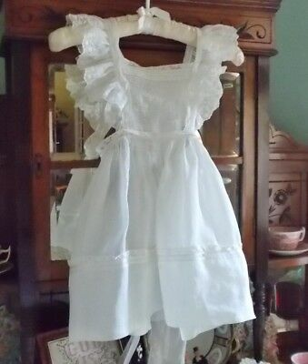 Girl's Vintage Cotton Organdy & Lace Pinafore With Label
