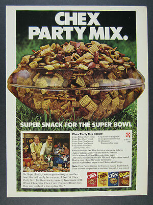 1980 Chex Party Mix Super Snack for the Super Bowl recipe vintage print Ad