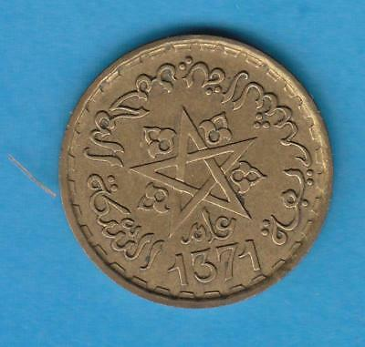 AH1371 Morocco 20 Francs- French Protectorate coinage-one year type, unc