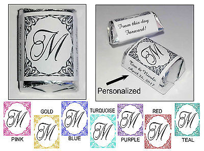 120 Filagree Damask Monogram Wedding Candy Wrappers ~ Personalized