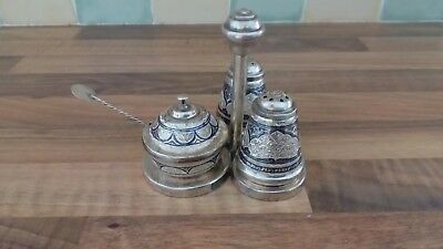 Russian  Niello Silver  Cruet Set With Stand And Spoon