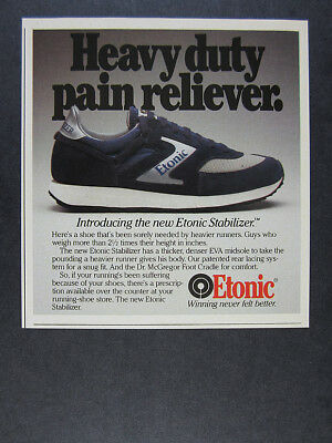 1983 Etonic Stabilizer Running Shoes 'Introducing' vintage print Ad