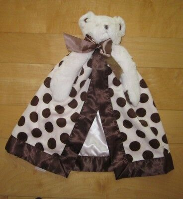 Bearington Baby Collection Pink Bear Lovey Security Blanket Brown Dots Satin