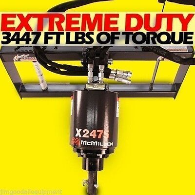"""Skid Steer Auger Extreme Duty,Gear Drive,McMillen X2475,Choice 6"""" or 9"""" Bit"""