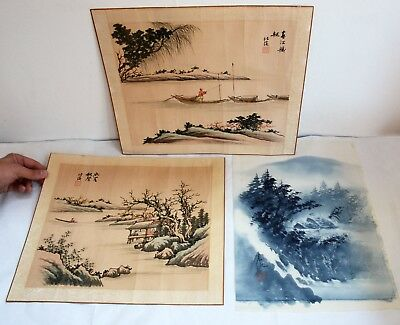 3 x Vintage Stamped Oriental Paintings on Silk. Rolled. Collectible Artwork