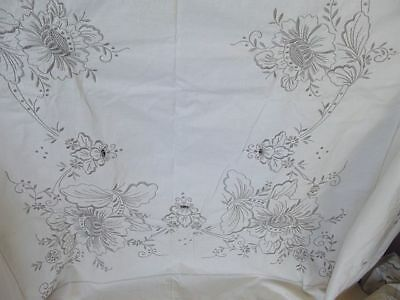 "MADEIRA Linen Tablecloth 62"" x 92"" Heavy Hand-Embroidered GRAY / IVORY HEIRLOOM"