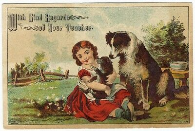 Victorian Greeting Card from TEACHER c 1880's DOG PUPPY and Little Girl Collie