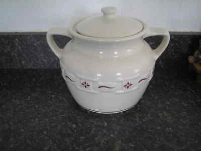 Lonberger Pottery Woven Tradition-Traditional Red  Bean Pot Cookie Jar-USA-UEC