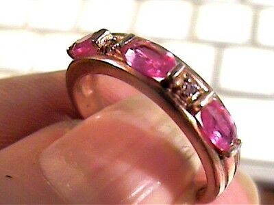 Vintage Ruby Band Sterling Silver 925 Pink Gold Ring 7 Medieval Natural  Sapphir