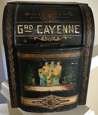 Early 20th Century Spice Store Bin Tole and stencil decoration