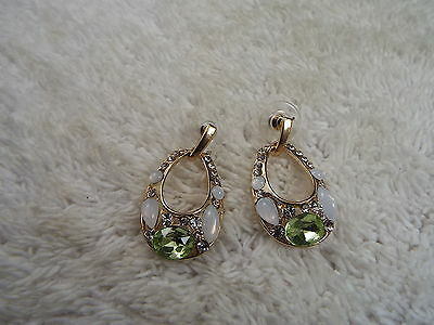 Goldtone Rhinestone White Green Cabochon Pierced Earrings (C41)