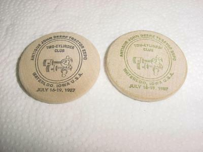 John Deere TWO CYLINDER CLUB 1987 Expo Wooden Coins MINT Buck and Half Buck