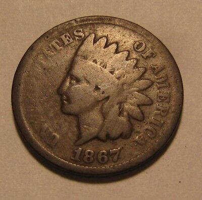 1867 Indian Head Cent Penny - AG Obverse / Good Reverse - 38SA-2