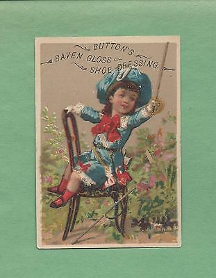 GIRL PLAYS CAVALRY On BUTTON'S RAVEN GLOSS SHOE DRESSING Victorian Trade Card