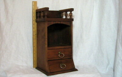 Unique Antique Carved Wood Cabinet  2 Drawers, Cubby Niche & Turned Railing Top