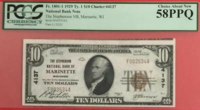 """1929 $10 Brown Seal National PCGS Choice AU 58 PPQ """"Marinette Wisconsin""""!"""
