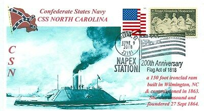 CSS NORTH CAROLINA Confederate Ironclad Ram Wilmington Cover Pictorial Postmark