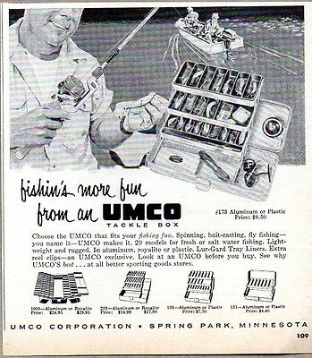 1960 Print Ad Umco Fishing Tackle Box Aluminum or Plastic Spring Park,MN