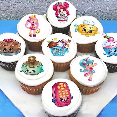 """Shopkins Edible Icing Cupcake Toppers - 2"""" - PRE-CUT - Sheet of 15"""