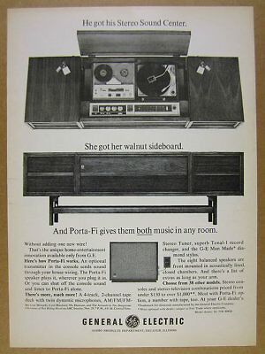 1965 GE General Electric Sideboard Console Stereo Porta-Fi Speaker vintage Ad