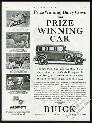 1930 Brown Swiss cow 4 photo Buick sedan car vintage print ad