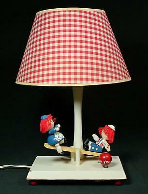 Vintage Bobbs Merrill Musical Animated Raggedy Ann & Andy Lamp