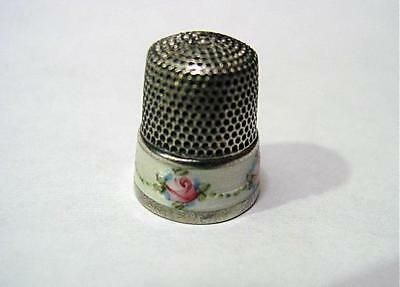 Antique Sterling Thimble W/ Enameled Pink Roses And Leaf Swags on Band Size 8