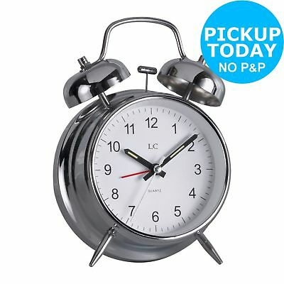 LC Twin Bell Classic Alarm Clock 12 Hour Analogue Silver