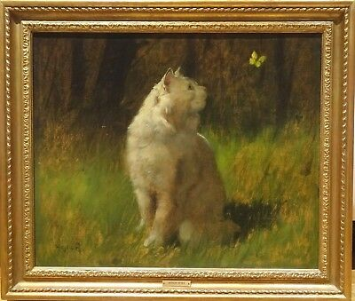 Large 19th Century White Angora Cat & Butterfly Garden Antique Oil Painting
