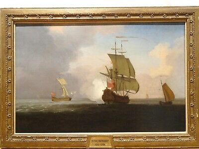 Large 18th Century British Navy Man O War Ship Battle Coast Antique Oil Painting