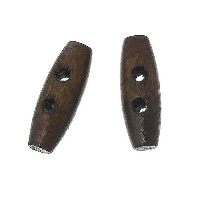 10 Dark Coffee 2 Holes Wood Toggle Sewing Buttons 20mm