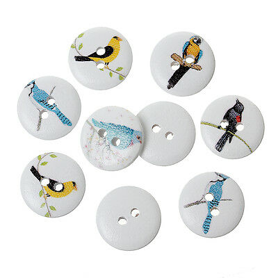 10  Assorted Bird Designs Wooden  Buttons 15mm Sewing crafts accessories