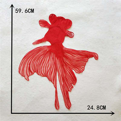red embroidery fish Big Flowers Lace Neckline Fabric DIY Collar Sewing Supplies