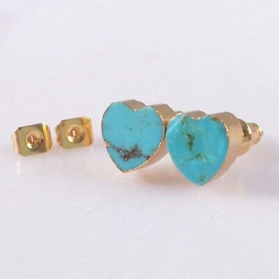 8mm Heart Natural Genuine Turquoise Stud Earrings Gold Plated B053684