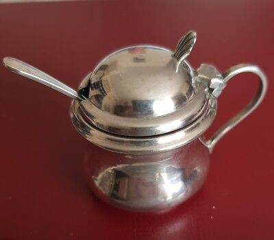 Hallmarked Silver Mustard Pot and Associated Silver Spoon