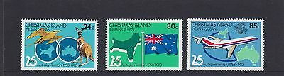 CHRISTMAS Island 1983  25th Anniversary as Australian Territory set of 3 MNH