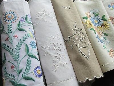 Collection of Six Different Vintage Hand Embroidery Tea Cosy Covers