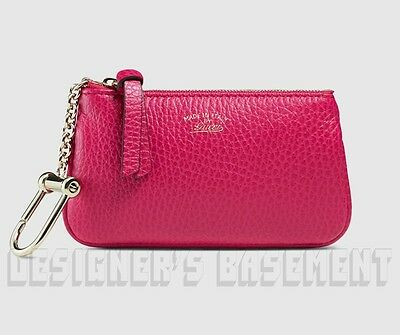 GUCCI magenta SWING Leather gold Trademark POUCH Case clip-on wallet NIB Authent