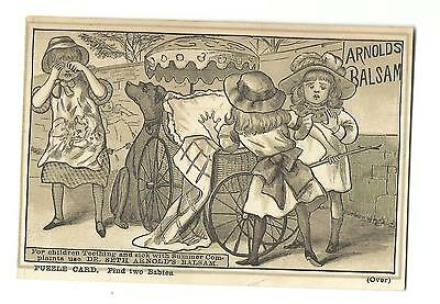 Old PUZZLE Trade Card Dr Seth Arnolds Balsam Children Teething Cholera Find Baby