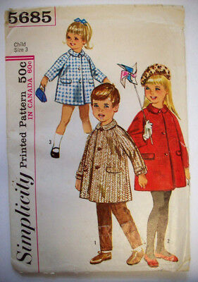 60's Toddler button front jacket coat pattern 5685 size 3
