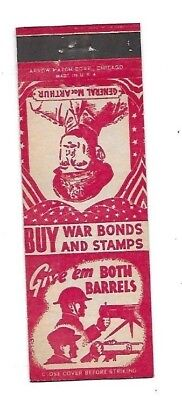 WWII Matchbook Cover BUY WAR BONDS AND STAMPS MacArthur Machine Guns #397